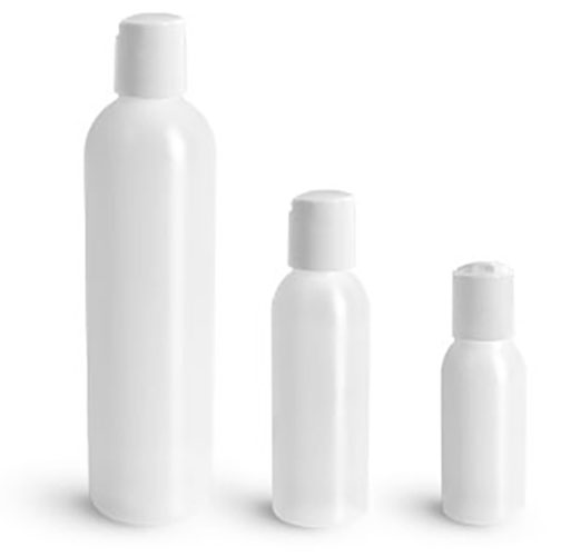 HDPE Plastic Bottles, Natural Cosmo Round Bottles w/ White Disc Top Caps