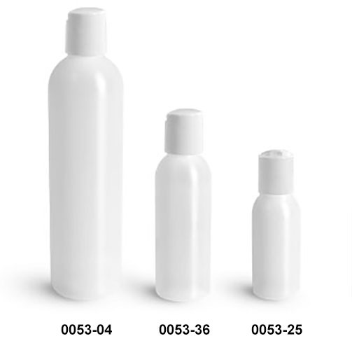 Plastic Bottles, Natural HDPE Cosmo Round Bottles w/ White Disc Top Caps