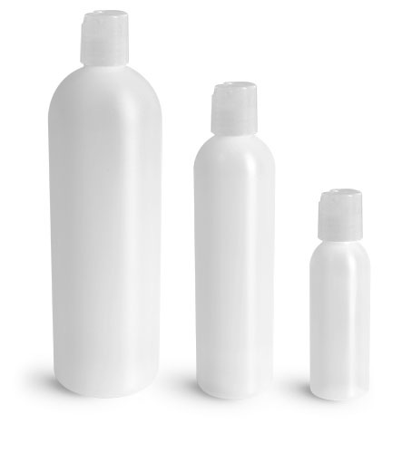 HDPE Plastic Bottles, Natural Cosmo Round Bottles w/ Natural Disc Top Caps