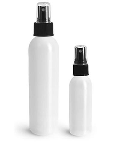 HDPE Plastic Bottles, Natural Cosmo Round Bottles w/ Black Fine Mist Sprayers