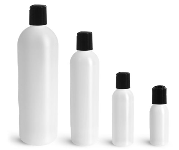 HDPE Plastic Bottles, Natural Cosmo Round Bottles w/ Black Disc Top Caps