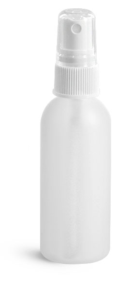Plastic Bottles, Natural HDPE Cosmo Rounds w/ White Fine Mist Sprayers