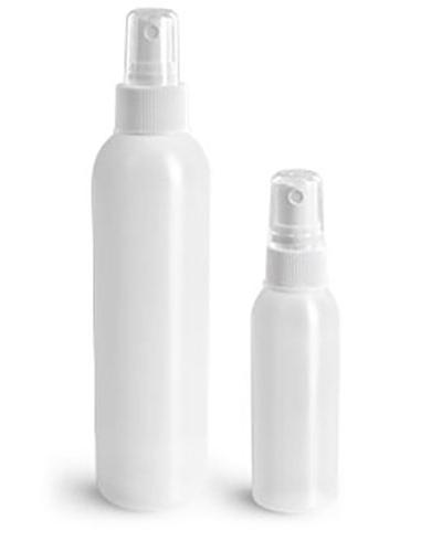 HDPE Plastic Bottles, Natural Cosmo Round Bottles w/ White Fine Mist Sprayers