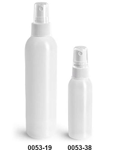 Plastic Bottles, Natural HDPE Cosmo Round Bottles w/ White Fine Mist Sprayers