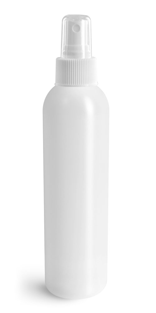 8 oz Natural HDPE Cosmo Rounds w/ White Fine Mist Sprayers