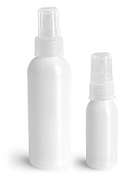 Plastic Bottles, Natural HDPE Cosmo Round Bottles w/ Natural Fine Mist Sprayers