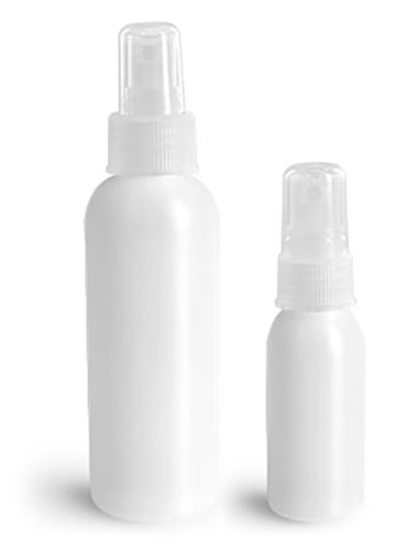 HDPE Plastic Bottles, Natural Cosmo Round Bottles w/ Natural Fine Mist Sprayers