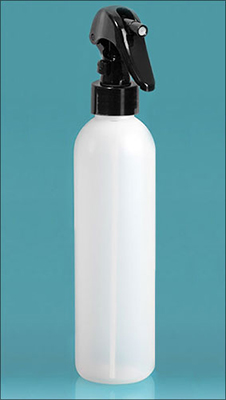 Plastic Bottles, Natural HDPE Cosmo Round Bottles w/ Black Mini Trigger Sprayers