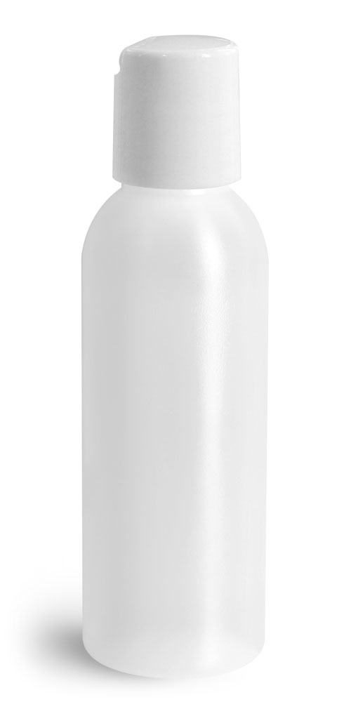 2 oz Plastic Bottles, Natural HDPE Cosmo Rounds w/ White Disc Top Caps