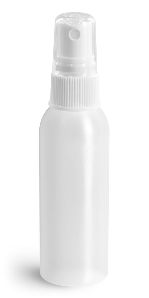2 oz Natural HDPE Cosmo Rounds w/ White Fine Mist Sprayers
