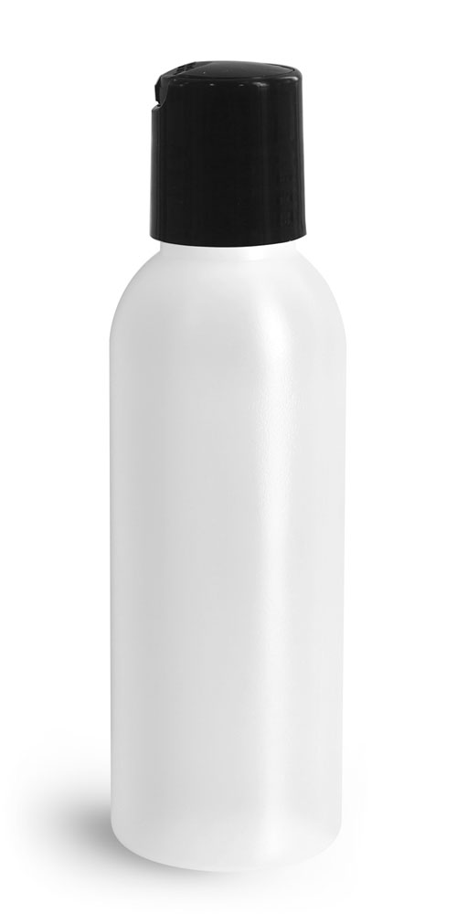 2 oz Plastic Bottles, Natural HDPE Cosmo Rounds w/ Black Disc Top Caps