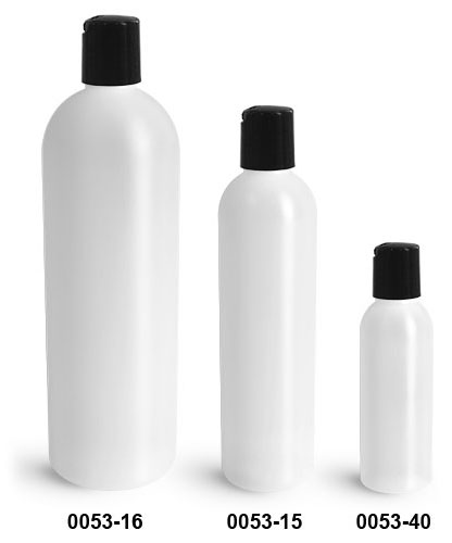 Plastic Bottles, Natural HDPE Cosmo Round Bottles w/ Black Disc Top Caps