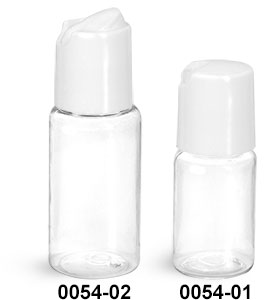 Plastic Bottles, Clear PET Round Bottles w/ White Disc Top Caps