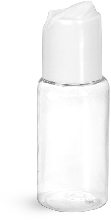 Clear PET Round Bottles w/ White Disc Top Caps