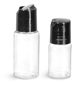 PET Plastic Bottles, Clear Round Bottles w/ Black Disc Top Caps