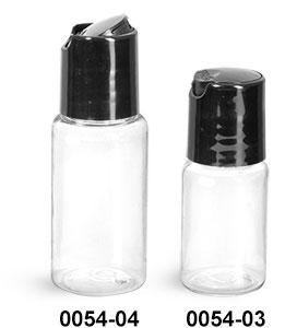 Plastic Bottles, Clear PET Round Bottles w/ Black Disc Top Caps