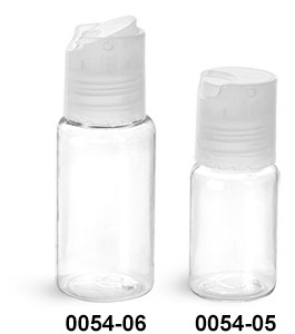 Plastic Bottles, Clear PET Round Bottles w/ Natural Disc Top Caps
