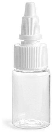 Clear PET Round Bottles w/ White Twist Top Caps