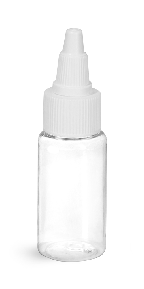 1 oz Clear PET Round Bottles w/ White Twist Top Caps