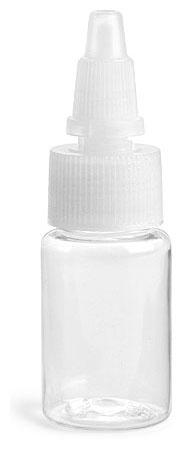 1/2 oz Clear PET Round Bottles w/ Natural Twist Top Caps