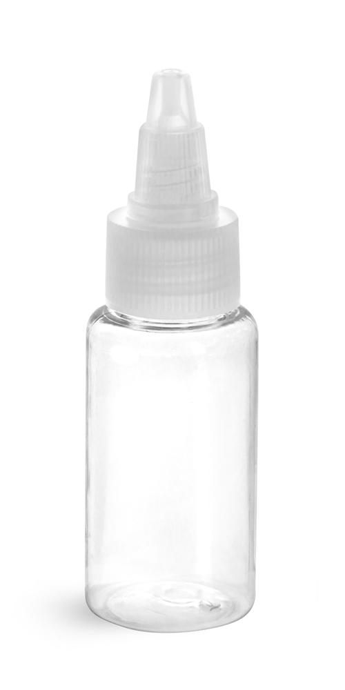 Clear PET Round Bottles w/ Natural Twist Top Caps