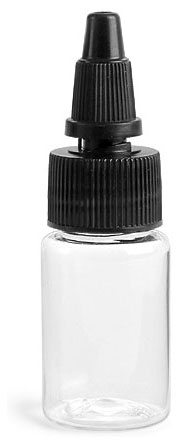 1/2 oz Clear PET Round Bottles w/ Black Twist Top Caps