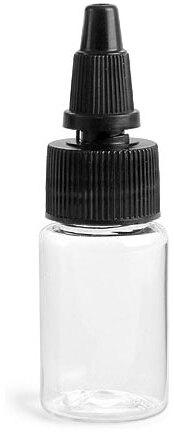 Clear PET Round Bottles w/ Black Twist Top Caps