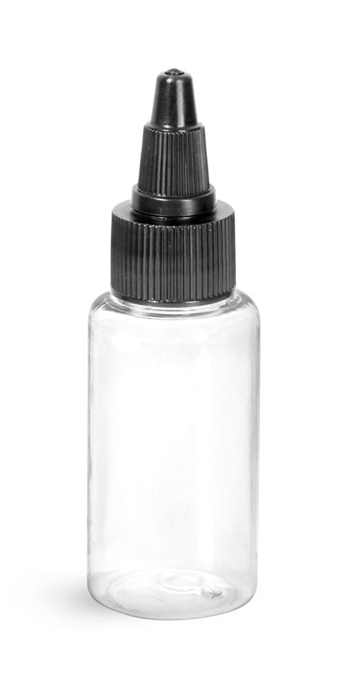 1 oz Clear PET Round Bottles w/ Black Twist Top Caps