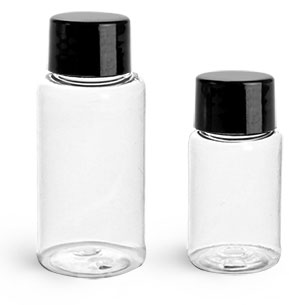 PET Plastic Bottles, Clear Round Bottles w/ Black Smooth Lined Caps