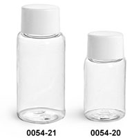 Plastic Bottles, Clear PET Round Bottles w/ White Smooth Lined Caps
