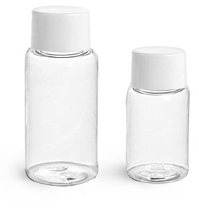 PET Plastic Bottles, Clear Round Bottles w/ White Smooth Lined Caps