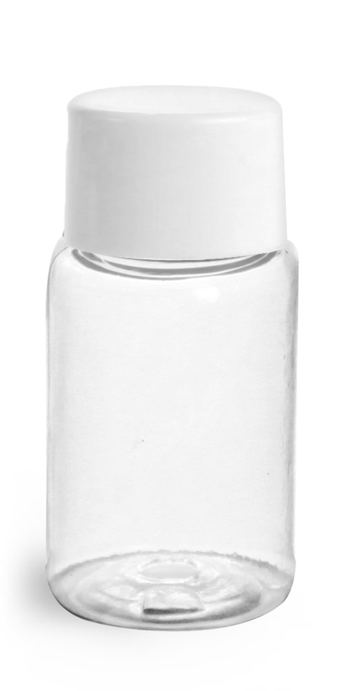 1/2 oz Plastic Bottles, Clear PET Rounds w/ White Smooth Lined Caps