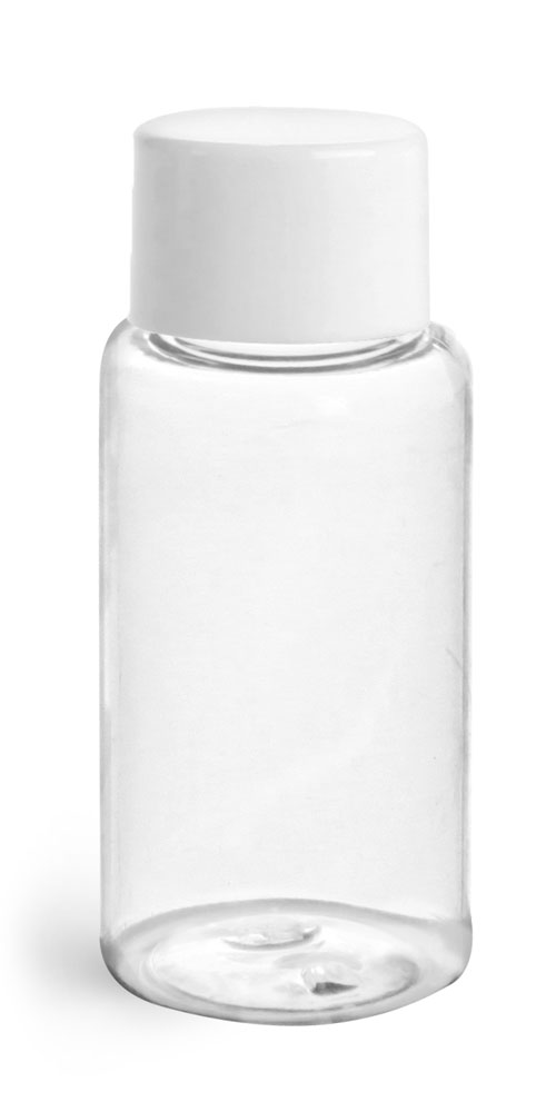 1 oz Plastic Bottles, Clear PET Rounds w/ White Smooth Lined Caps