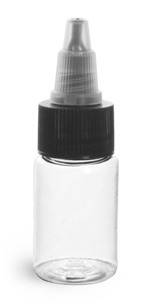 1/2 oz Plastic Bottles, Clear PET Rounds w/ Black/Natural Induction Lined Twist Top Caps