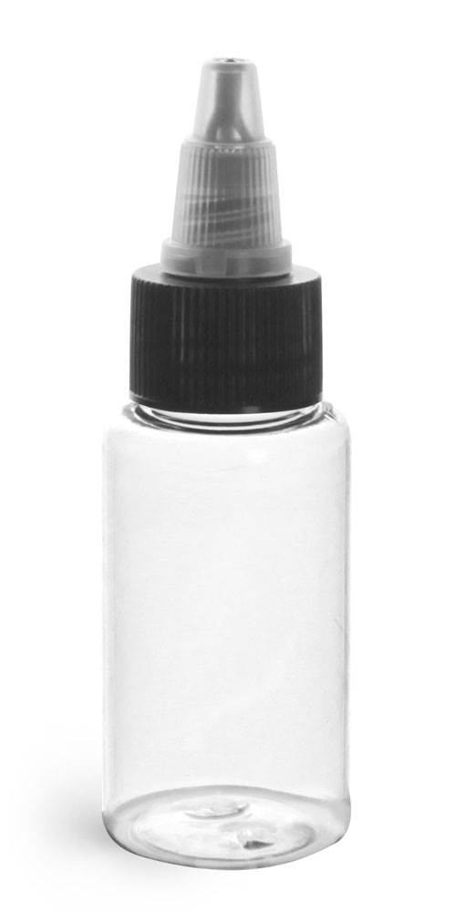 1 oz Plastic Bottles, Clear PET Rounds w/ Black/Natural Induction Lined Twist Top Caps