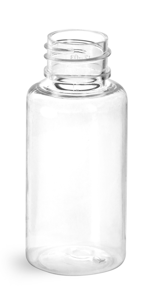 1/2 oz Clear PET Round Bottles (Bulk), Caps NOT Included
