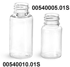 Plastic Bottles, Clear PET Round Bottles (Bulk), Caps NOT Included