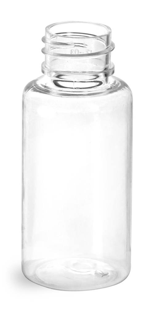 1 oz Clear PET Round Bottles (Bulk), Caps NOT Included