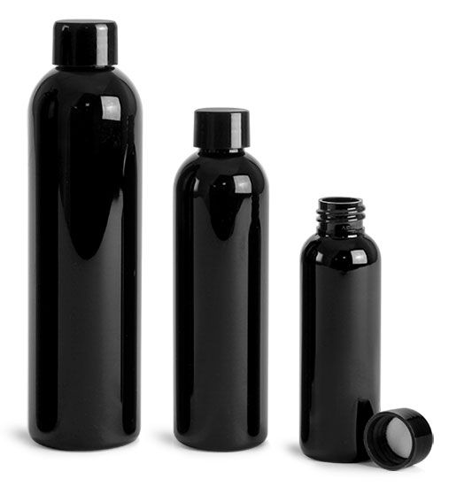 PET Plastic Bottles, Black Cosmo Round Bottles w/ Black Smooth Lined Caps