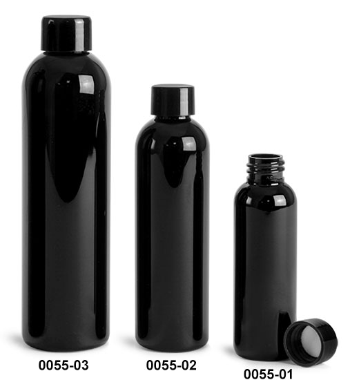 Plastic Bottles, Black PET Cosmo Round Bottles w/ Black Smooth Lined Caps