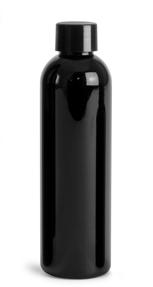 Black PET Cosmo Round Bottles w/ Black Smooth Lined Caps