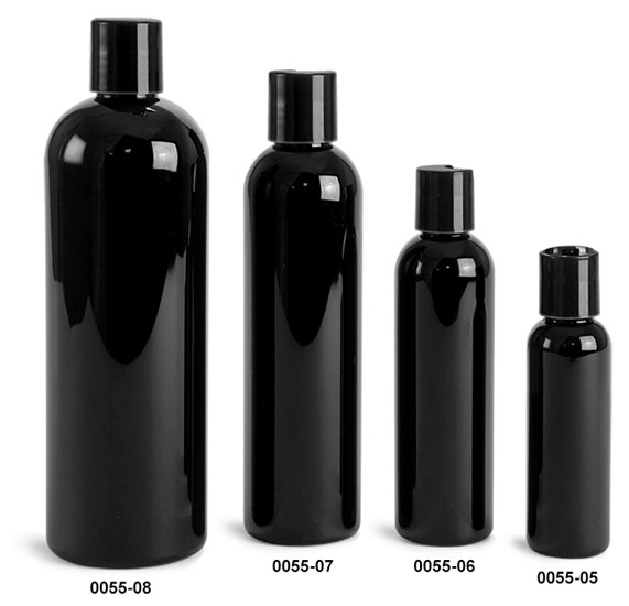 Plastic Bottles, Black PET Cosmo Round Bottles w/ Black Disc Top Caps