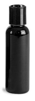 2 oz Black PET Cosmo Round Bottles w/ Black Disc Top Caps