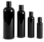PET Plastic Bottles, Black Cosmo Round Bottles w/ Black Disc Top Caps