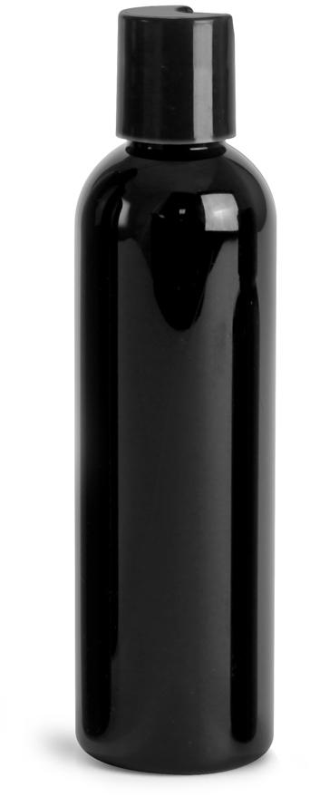 Black PET Cosmo Round Bottles w/ Black Disc Top Caps