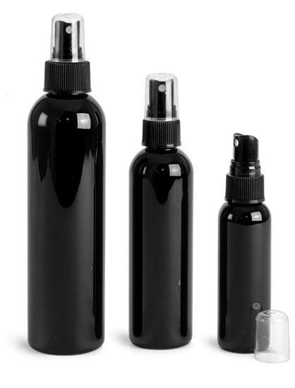 PET Plastic Bottles, Black Cosmo Round Bottles w/ Black Sprayers