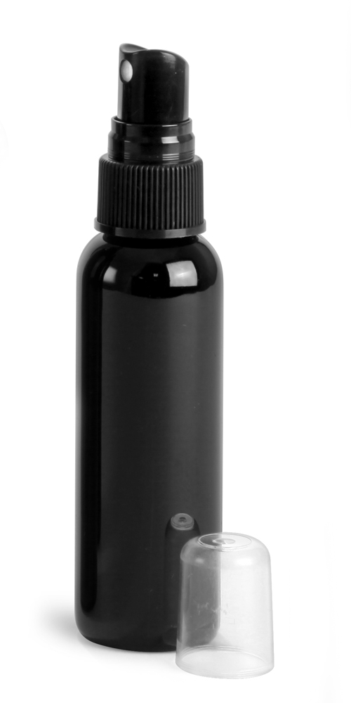 2 oz Black PET Cosmo Round Bottles w/ Black Sprayers