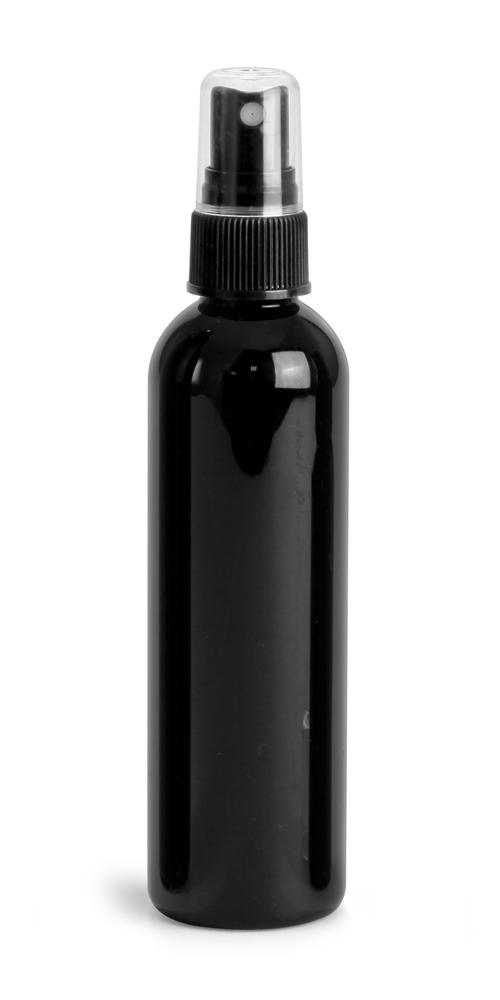 4 oz Black PET Cosmo Round Bottles w/ Black Sprayers