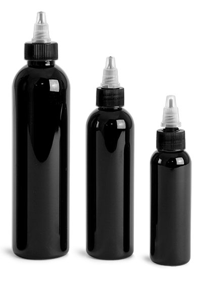 PET Plastic Bottles, Black Cosmo Round Bottles w/ Black / Natural Twist Top Caps