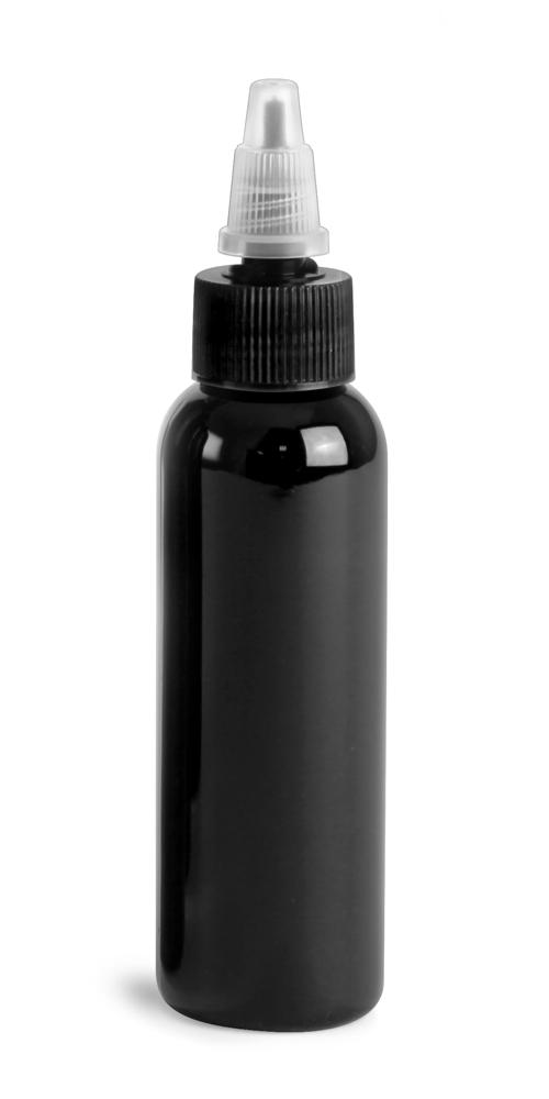 2 oz Black PET Cosmo Round Bottles w/ Black / Natural Twist Top Caps